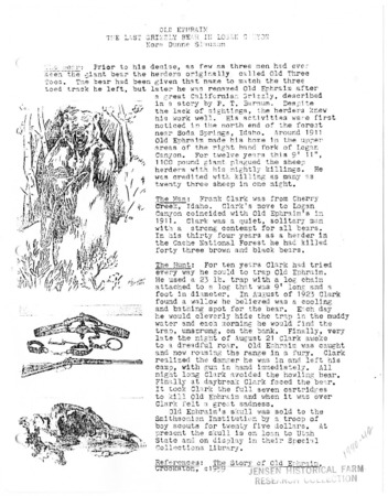 """""""Old Ephraim, the Last Grizzly Bear in Logan Canyon,"""" by Nora Dunne Slauson, 1917"""