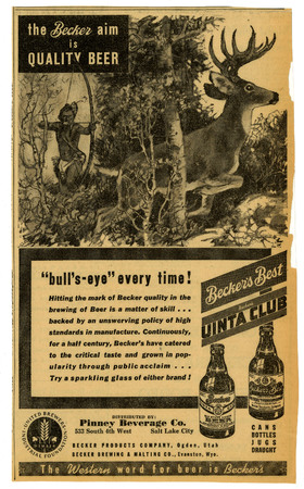Advertisement for Becker's Uinta Club (1 of 3), 1938