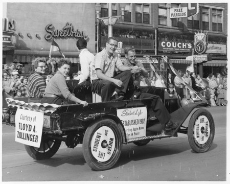 """Student Life"" parade car, Homecoming 1955"