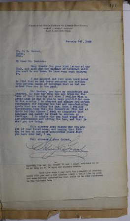 Heber J. Grant Letter, 1926