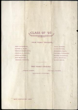 1897 UAC Commencement Program, Back Cover
