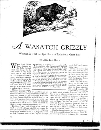 """Nature Magazine's """"A Wasatch Grizzly"""", March 1928"""