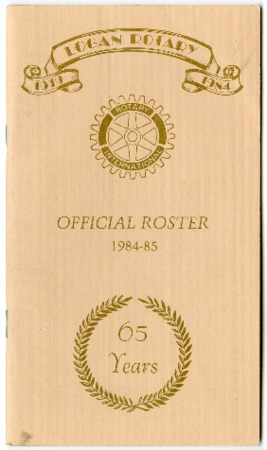 Logan Rotary Official Roster, 1984-85, 65 Years,