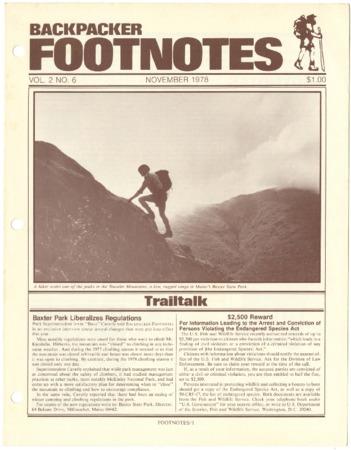 Backpacker Footnotes, November 1978
