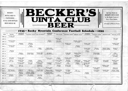Becker's Unita Club Beer Rocky Mountain Conference Football Schedule, 1935