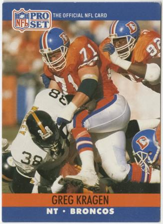 Football card - Greg Kragen, Denver Broncos, 1990