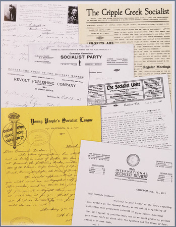 Collage of socialist letterhead used in correspondence to and from Jack London