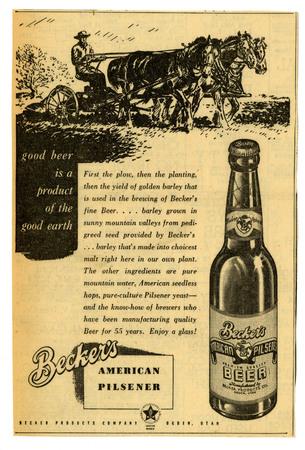 Advertisement for Becker's American Pilsner Beer (2 of 18), c. 1940