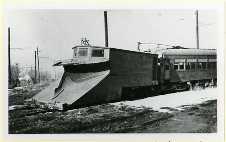 U.I.C. Snow Plow and Passenger Car at a Wye Stop, 1940s<br />