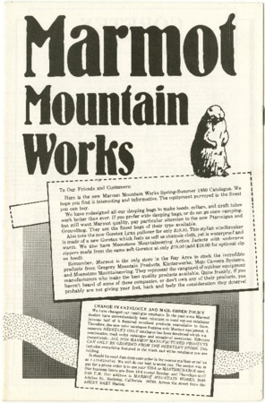 Marmot Mountain Works, 1980