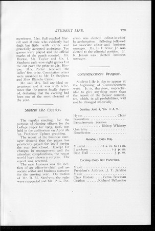 1905 UAC Commencement Program Student Life Newspaper Page 1
