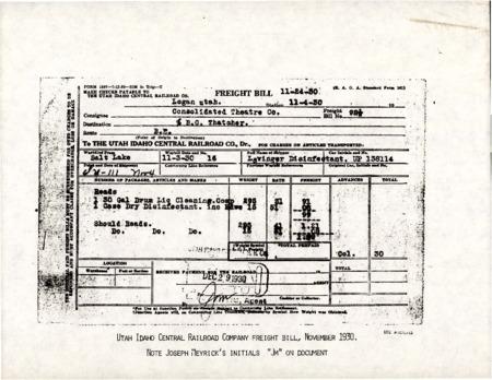 U.I.C. Freight Bill with Joseph Meyrick's Initials, 1930<br />