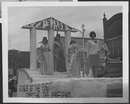 """Echoes of the Past"" Homecoming parade float, late 1960s"