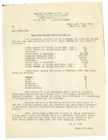 """Railroad Bulletin, """"Loss and Damage Bulletin No. 2,"""" 1931<br />"""