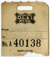 O.L.I Baggage Claim Ticket No. A40138, 1918<br />