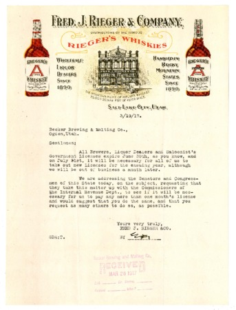 Letter to the Becker Brewing and Malting Company from the Fred J. Rieger and Company (1 of 2), 1917