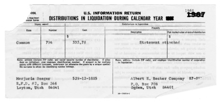 Liquidation of the Becker Products Company Documents, 1953 to 1977