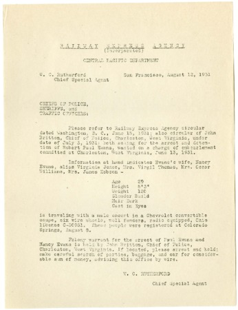 Railroad Circular, Warrant for the Arrest of Robert Paul Evans, 1931<br />