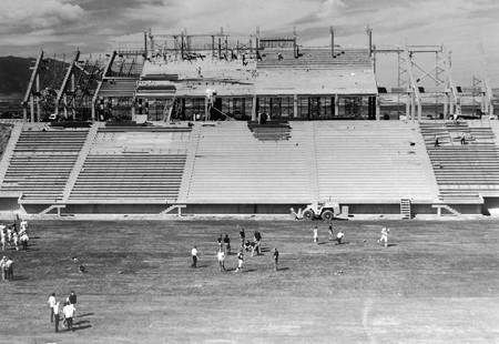 View of Romney Stadium construction, 1969