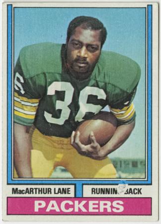 Football card - MacArthur Lane, Green Bay Packers, 1974