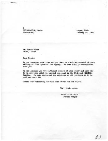 Letter from Owen De Spain to Frank Clark, January 19, 1953