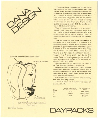 Dana Design, Daypacks, undated