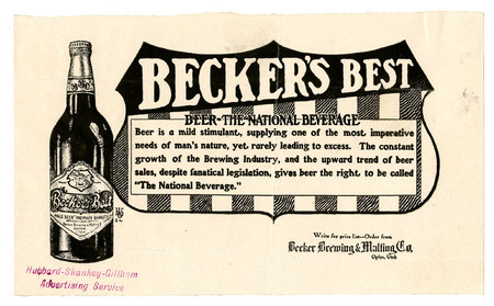 Advertisement for Becker's Best (5 of 29), c. 1910