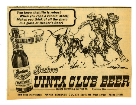 Advertisement for Becker's Uinta Club Beer (3 of 3), 1941