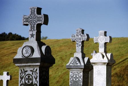 St. Sava Serbian Cemetery, grave markers, Jackson, California