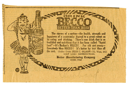 Advertisement for Becker's Becco (4 of 9), c. 1920