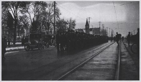 World War I Soldiers Await the U.I.C. on Main Street, Logan - 3<br />
