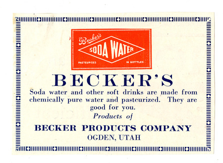 Advertisement for Becker's Soda Water, 1929