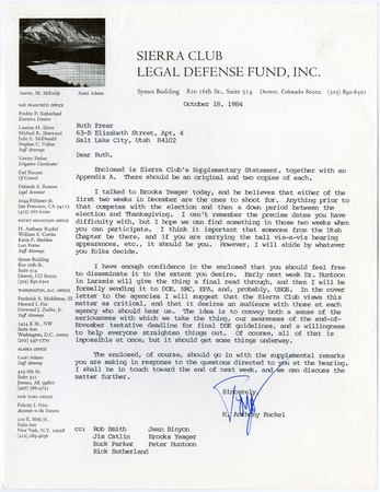 H. Anthony Ruckel of Sierra Club Legal Defense Fund, Inc. Letter to Ruth Frear