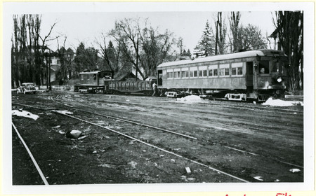U.I.C. Engine, Hopper, and Passenger Car at a Wye Stop, Logan, 1940s<br />