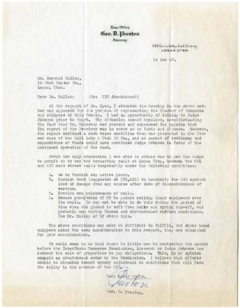 U.I.C. Abandonment Letter, Geo. Preston to Herschel Bullen, February, 1947<br />