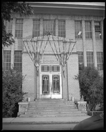 Engineering building decorated for homecoming, c. 1950