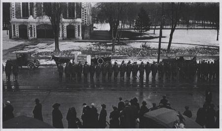 World War I Soldiers Await the U.I.C. on Main Street, Logan<br />