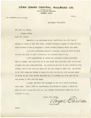 Royal Eccles to Geo. Champ Regarding Stock Conversions, 1919<br />