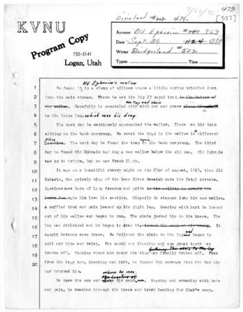 KVNU program copy of Old Ephraim radio transcript, 1975