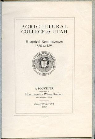 1908 UAC Commencement Program Page 1
