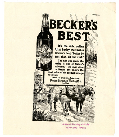 Advertisement for Becker's Best (8 of 29), c. 1910