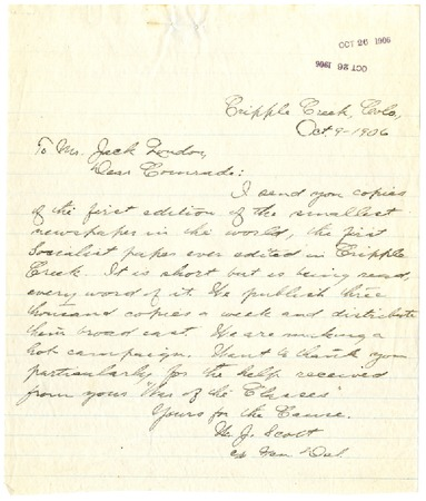 Letter from W.J. Scott to Jack London, dated October 9, 1906
