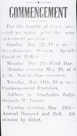 1910 UAC Commencement Program Newspaper Announcement