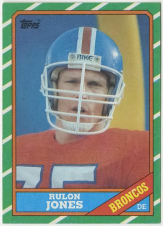 Football card - Rulon Jones, Denver Broncos, 1986