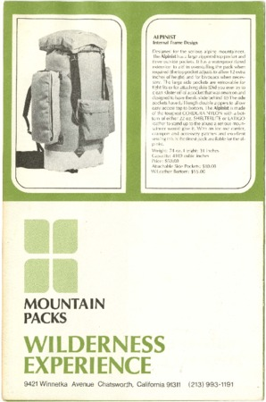 Wilderness Experience, 1974