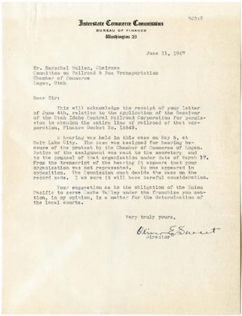 Letter from I.C.C. Regarding Abandonment of the U.I.C., June, 1947<br />