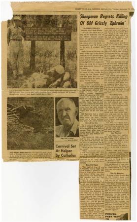 """Sheepman Regrets Killing of Old Grizzly 'Ephraim'"""