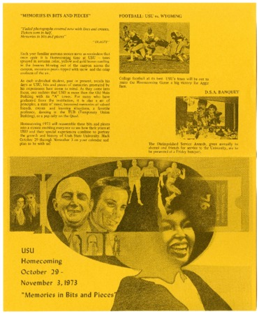 "USU homecoming, ""Memories in Bits and Pieces"" brochure, 1973"