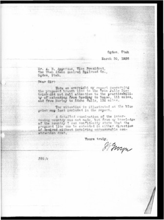 Railroad Reconnaissance Report, March 30, 1928 Letter<br />