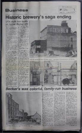 """Historic brewery's saga ending"" Ogden Standard-Examiner Article, 1984"